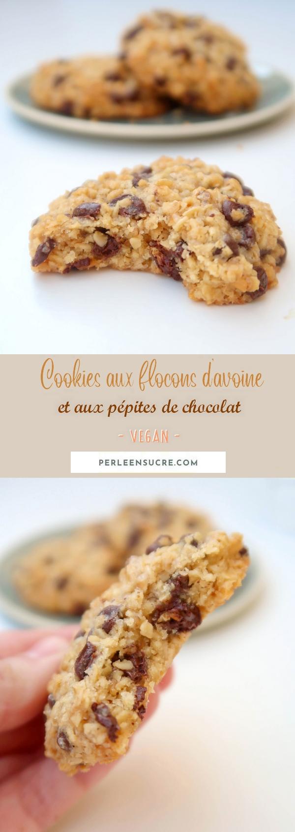 Cookies aux flocons d'avoine et au chocolat {vegan}