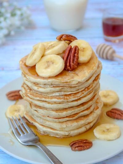 Pancakes à la banane sans oeuf {vegan}