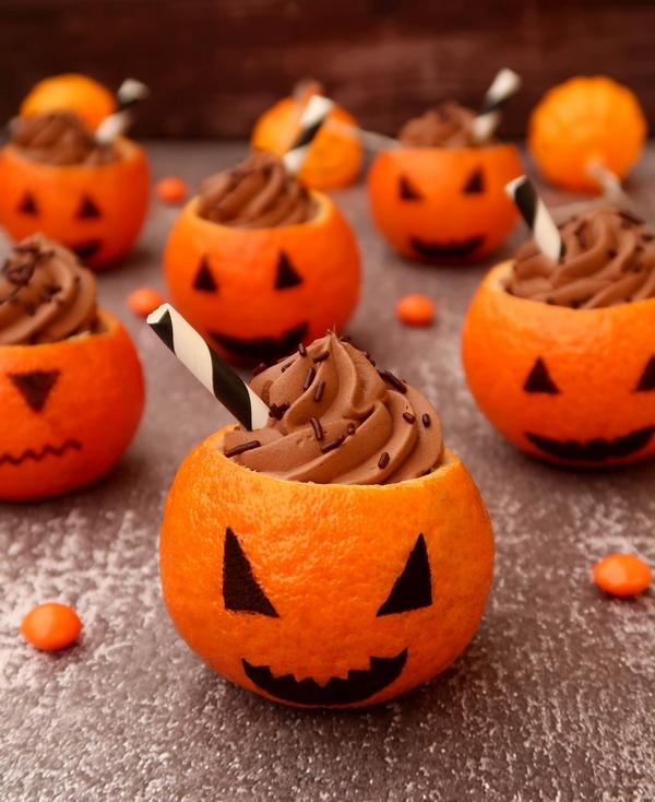 Clémentines à la mousse au chocolat {Halloween}