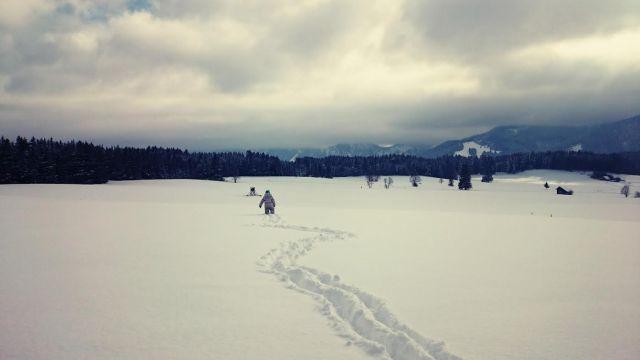 kleiner Mensch in grossem Schnee