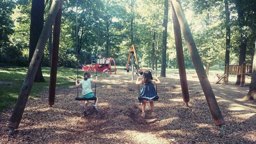 Friends on swings