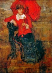 James Ensor (18690-1949) - The Lady with the red parasol