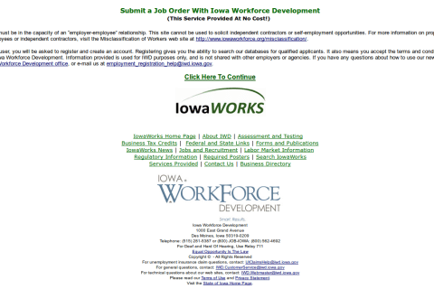 Iowa SWA Job Order PERM Ads Immigration Advertising