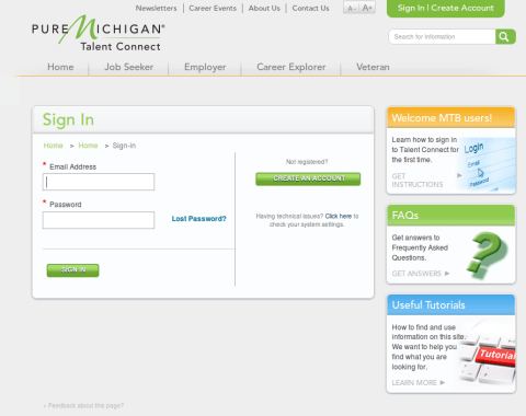 Michigan SWA JOb Order Employer Login Page