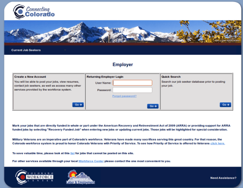 Colorado SWA JOb Order Employer Login Page