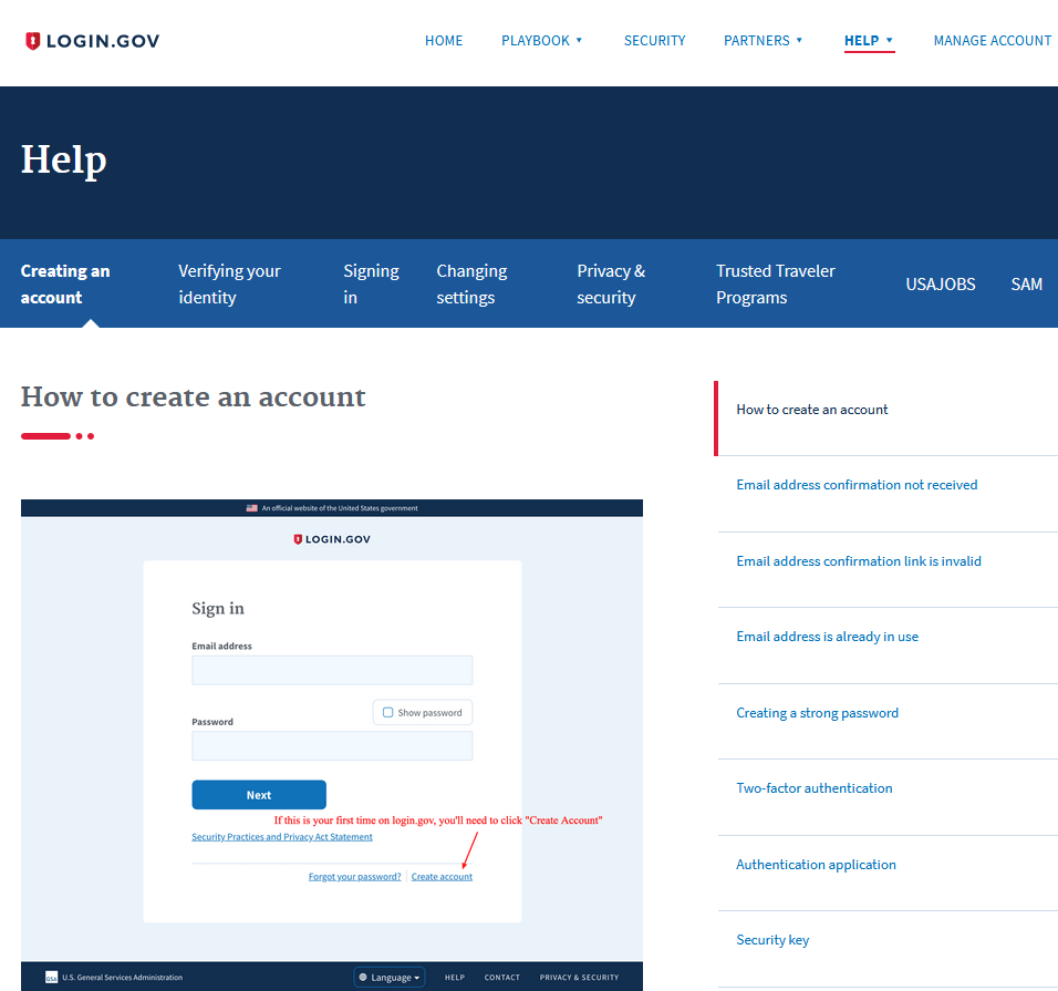 login gov creating an account help page