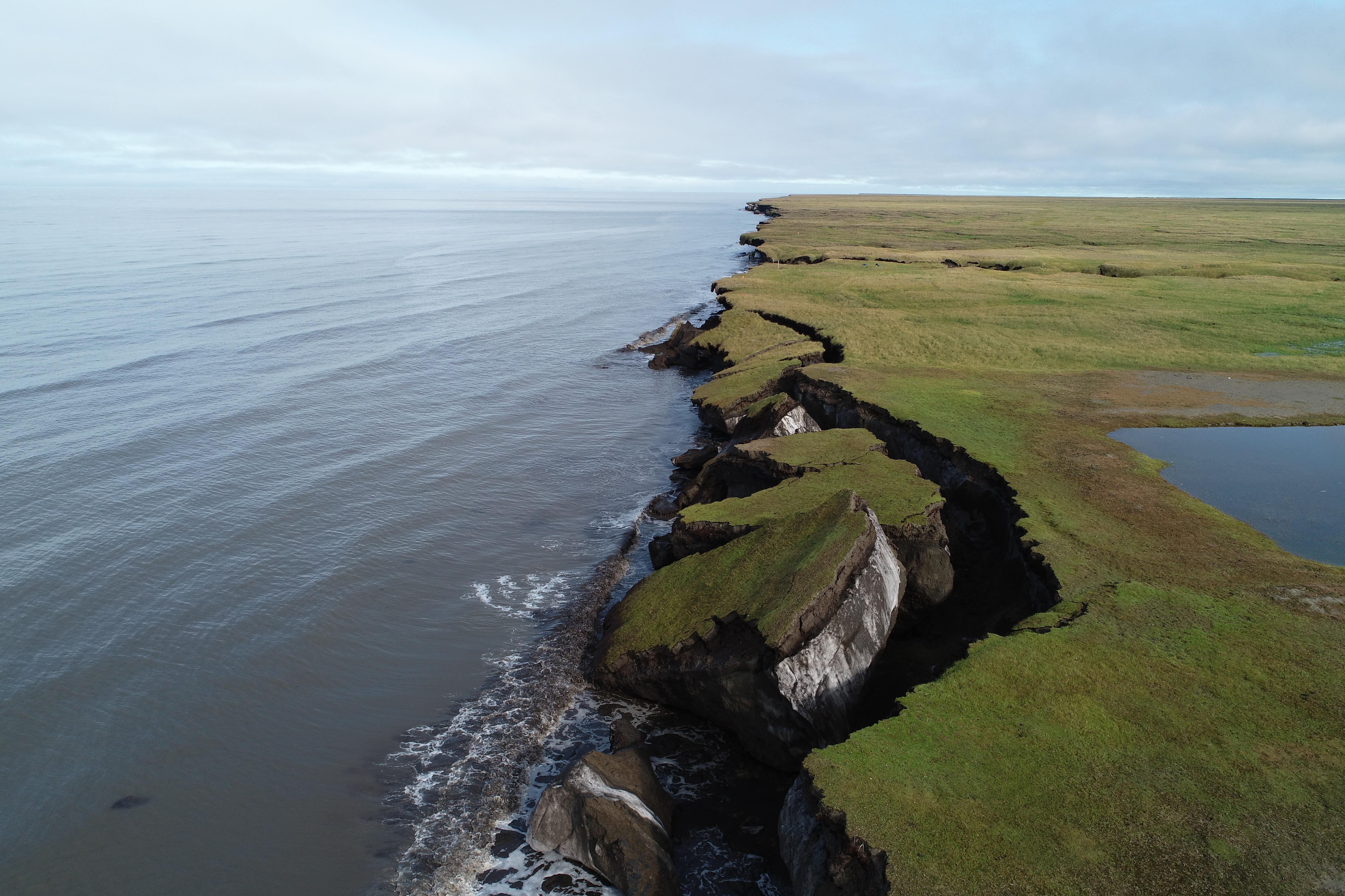 Eroding coastal permafrost bluffs, Drew Point, Alaska.