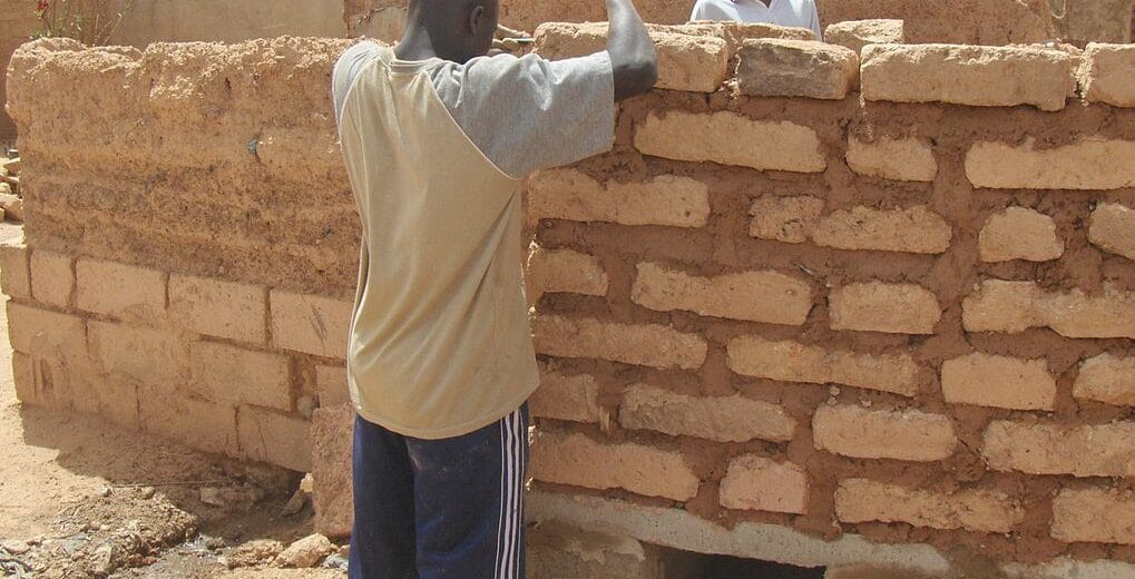 adobe wall with clay mortar