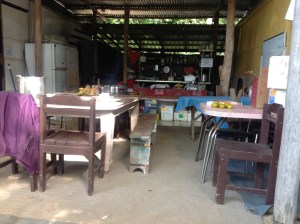 This is the student and volunteer communal living, dining and kitchen space at the Permaculture Research Institute Sunshine Coast, Queensland, Australia.