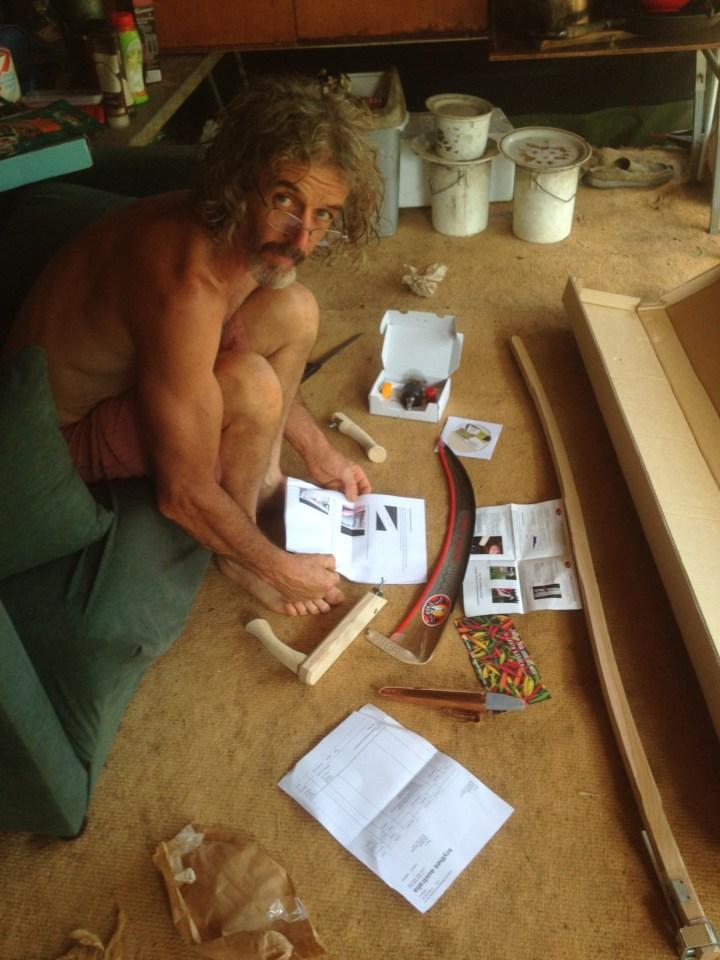 Tom Kendall assembles his Scythe at Maungaraeeda.