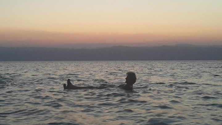 "Tom Kendall ""floats"" on the Dead Sea."