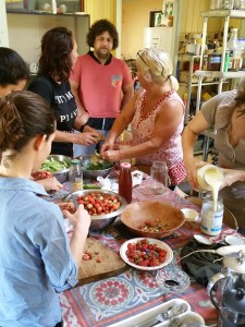 Harvesting and harvest processing during the PRI Sunshine Coast run Permaculture Design Certificate course