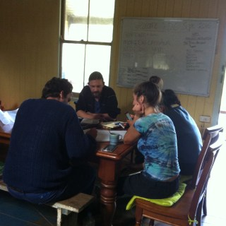 Student working on their designs during the PDC course Permaculture Design Certificate course run by PRI Sunshine Coast