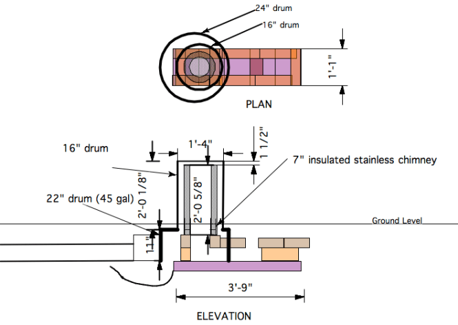 Diagram Of Our Rocket Stove Water Heater S Internal Workings