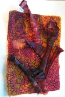 Silk Carrier Rods on Free Motion Machine Stitched Felt