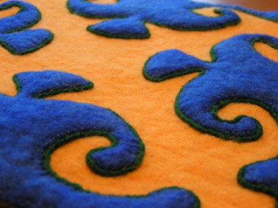 Hand Made Felt Applique with Couched Edge