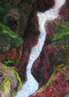 Wet felted and Needle Felted Wall Hanging, Avalanche Creek
