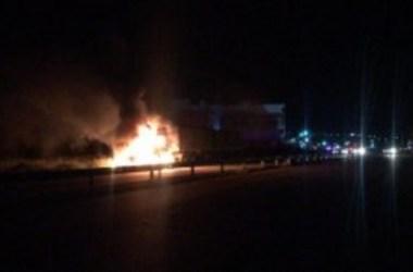 PRF registra 6 acidentes no plantão 24 horas e carreta pega fogo em Taquaritinga do Norte