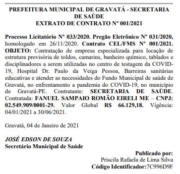Mesmo sem barreiras sanitárias educativas Gravatá divulga contrato de R$ 66,1 em estrutura que deveria está funcionando desde janeiro