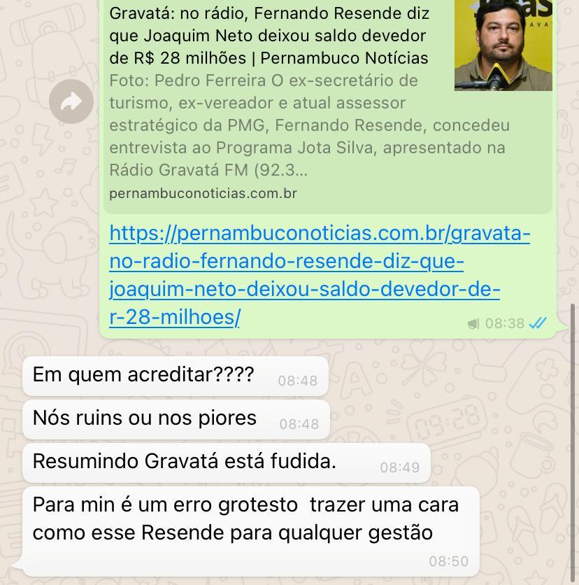 Gravatá: no rádio, Fernando Resende diz que Joaquim Neto deixou saldo devedor de R$ 28 milhões