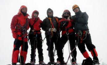 Cała ekipa na szczycie Mont Blanc. (Fot. Wiktor Rozmus)