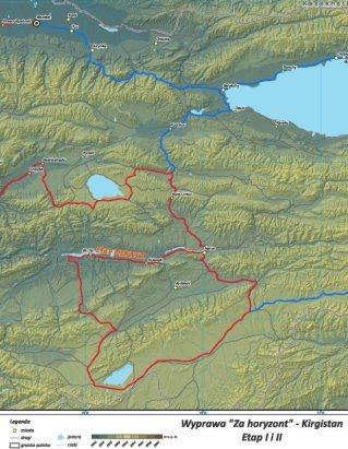 Etap I wyprawy Za Horyzont na mapach przygotowanych przez jednego z uczestników, Maćka. (Fot. z archiwum wyprawy)