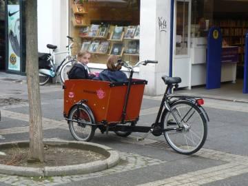 Dzieci w koszu rowerowym