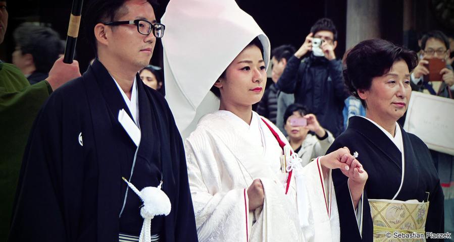Japońska para weselna, zdjęcia z podróży po Tokio