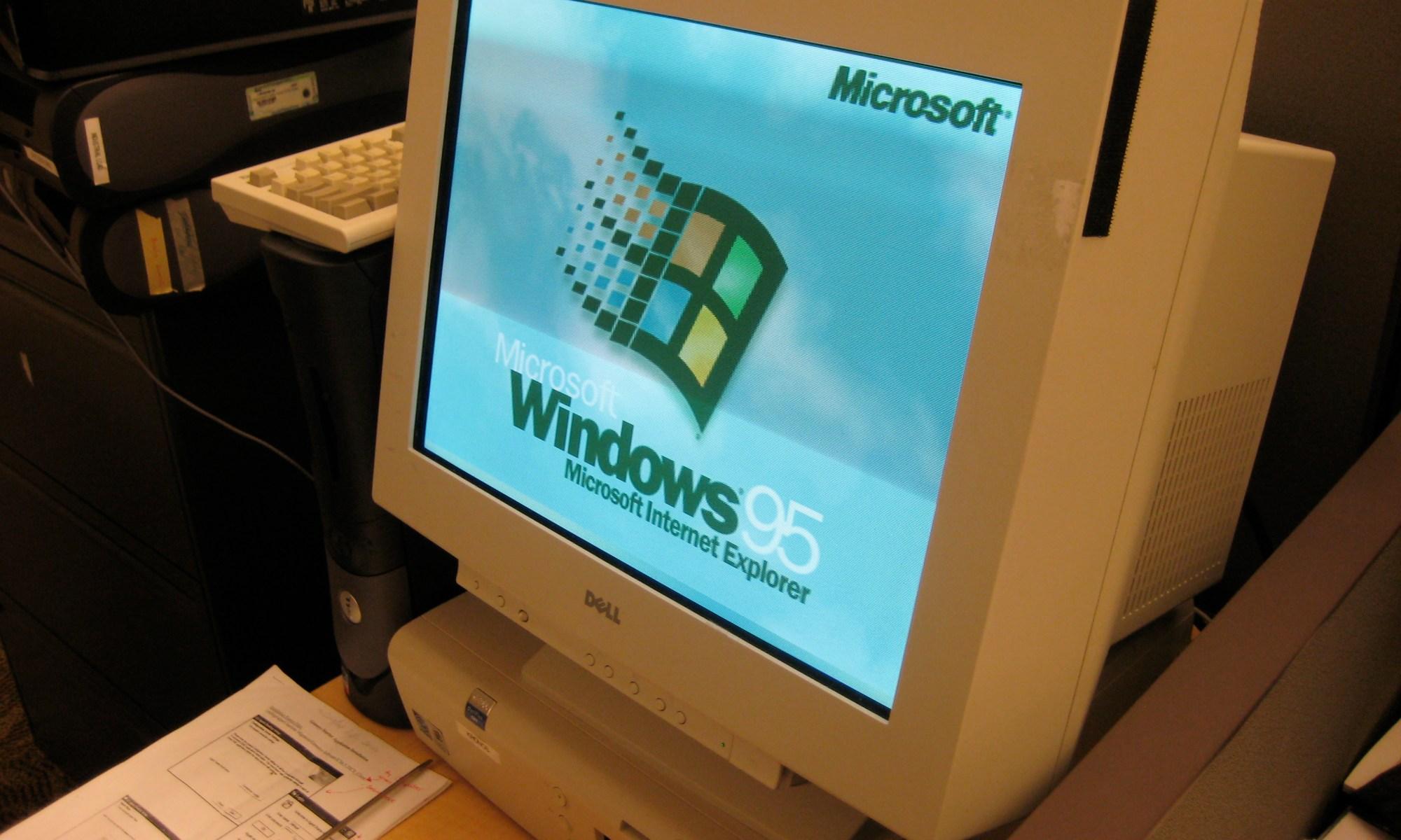 Windows 95 computer with a CRT moniitor