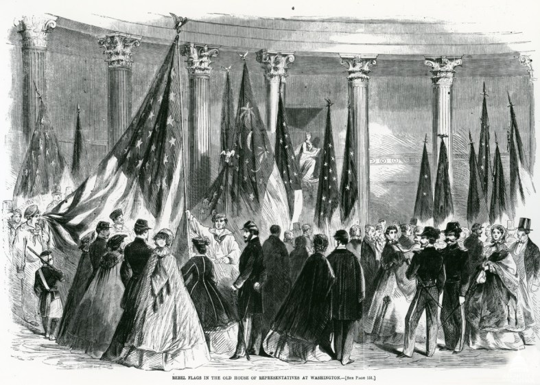Union Troops holding captured Confederate flags in Statuary Hall.