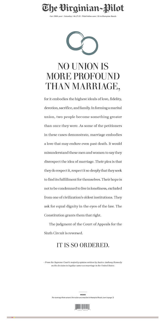 Virginian-Pilot front page after Supreme Court same-sex marriage ruling