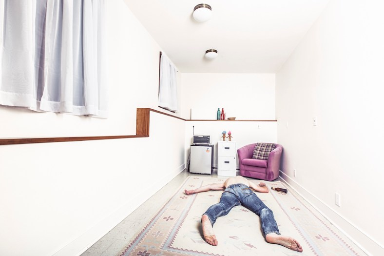 Man fallen over on a mattress via Gratisography.com
