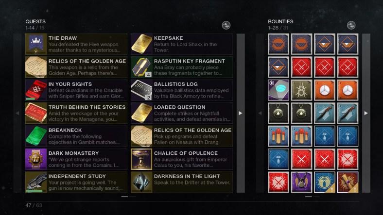 Destiny 2 pursuite tab redesign for Shadowkeep
