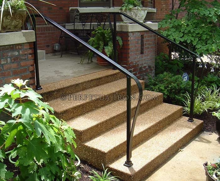 Perpetua Iron Simple Railing Page 2   Outdoor Iron Railings For Steps   Outside   Aluminum   Wood Treads   Staircase   Custom