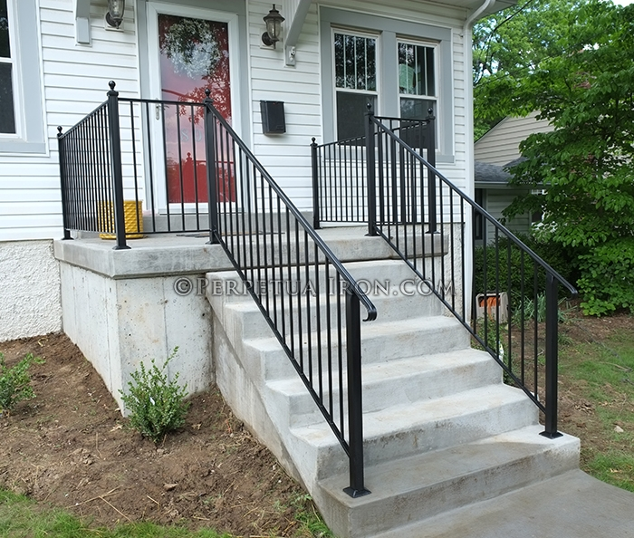 Perpetua Iron Simple Railing Page 2   Outdoor Handrails For Concrete Steps   Contemporary   Hand Rail   Precast   Stair   Water Pipe