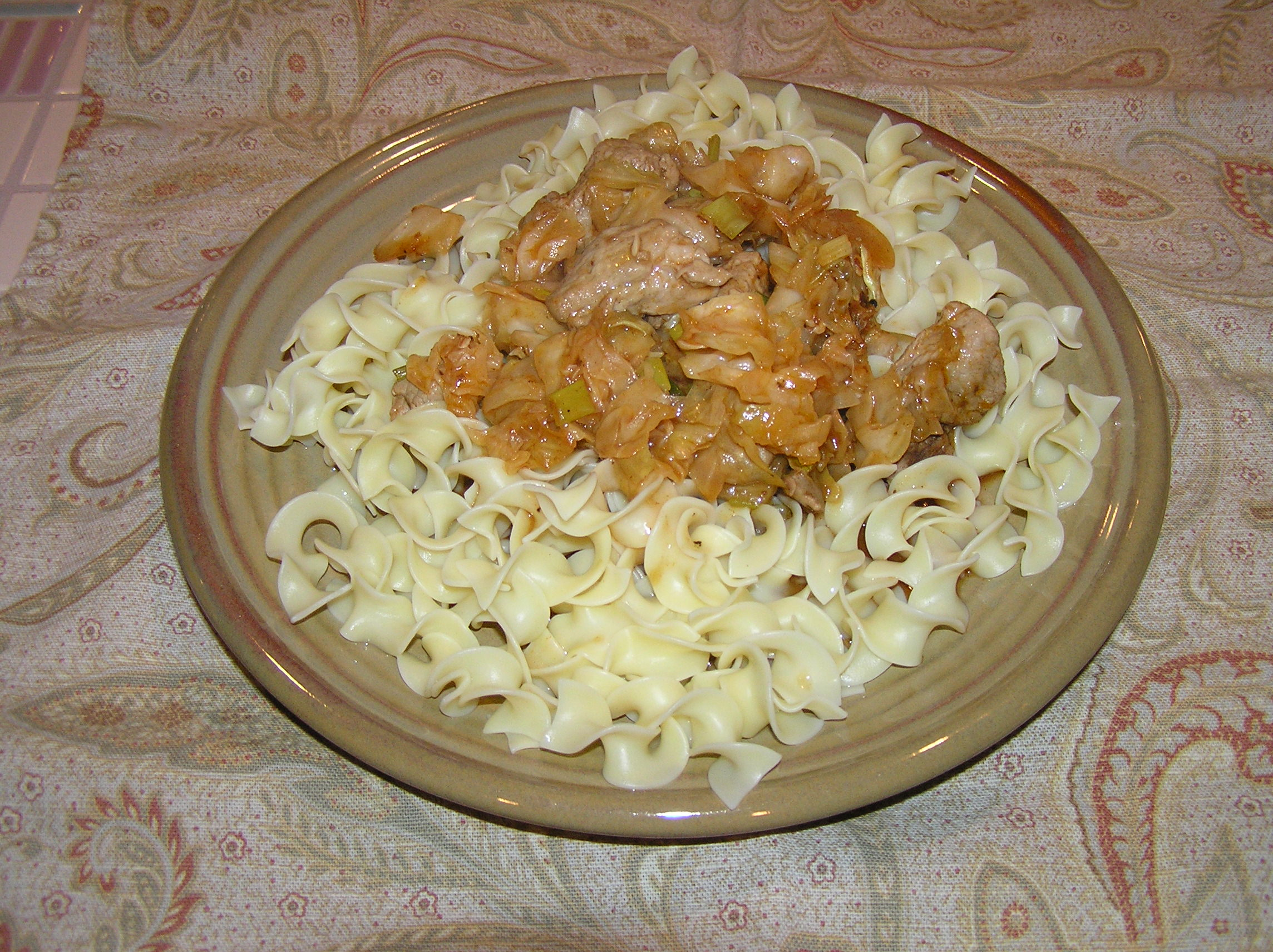 hot cabbage on noodles