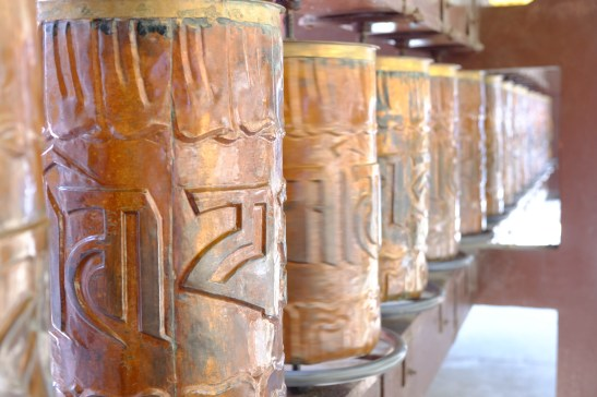 Prayer Wheels Inscribed with Om Mani Padme Hum - Buddhist mantra, Mussoorie, Uttarakhand, India