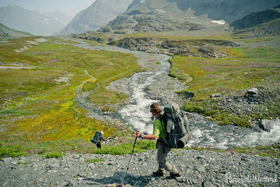 Over a pass in Wrangell St Elias