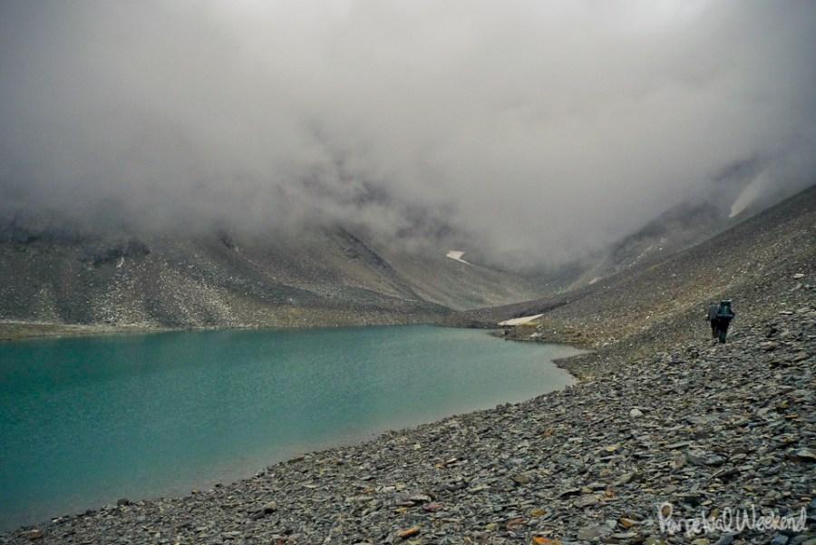 alpine lake rainy hike in alaska