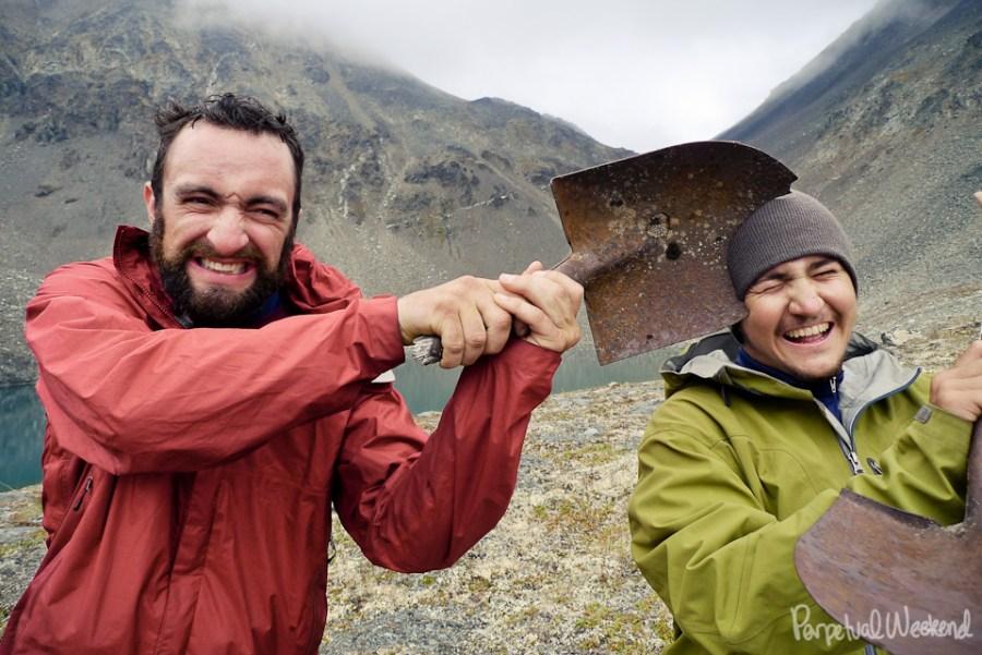 backpacking humor and violence in alaska, mine waste