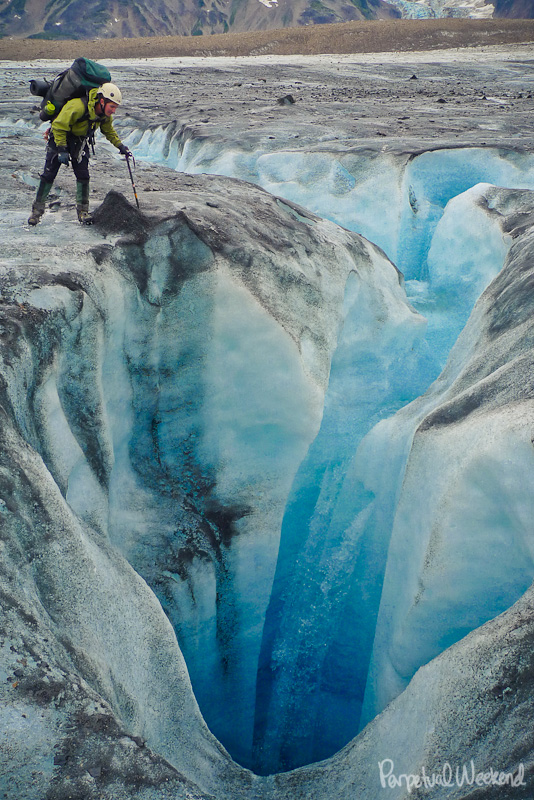 moulin in glacier in alaska