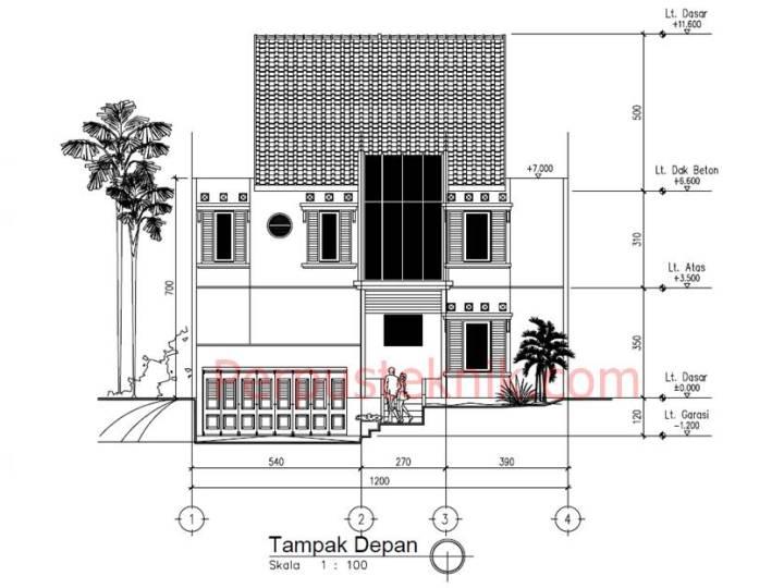gambar Rumah 3 Lantai 1200 x 2580 DWG
