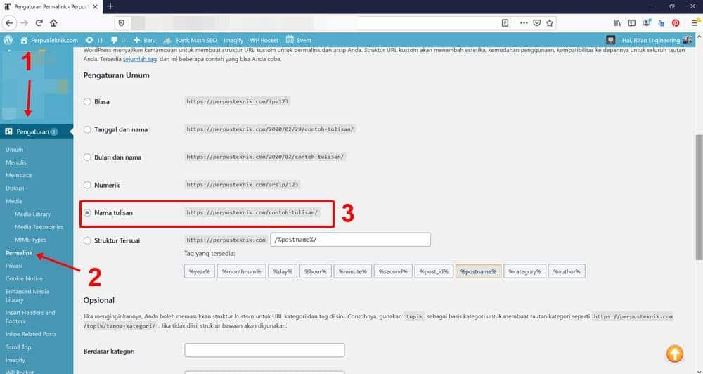 Cara mengatur permalink di wordpress