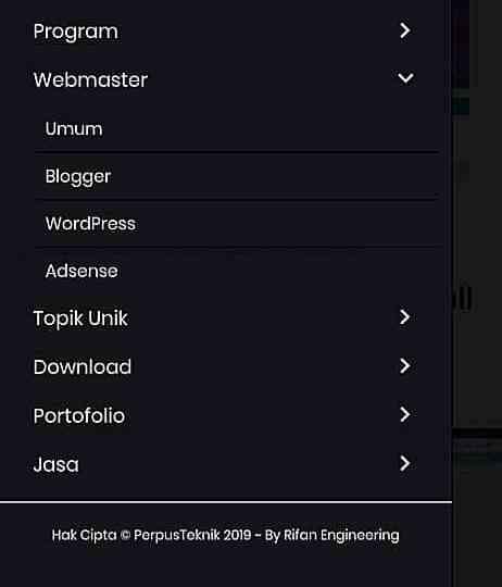 Cara membuat menu di versi AMP wordpress