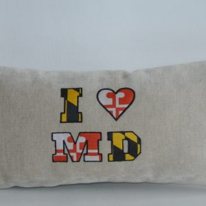"""Beige Pillow with """"I ♥ MD"""" Appliqué"""