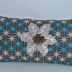 Blue & White Snowflake Pillow with Snowflake Appliqué