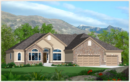 Teton model home custom built by Perry Homes Utah.
