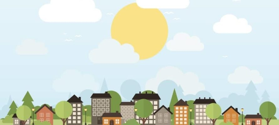 The city in the forest. Vector illustration