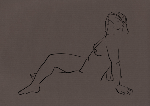 A drawing of a reclining female nude