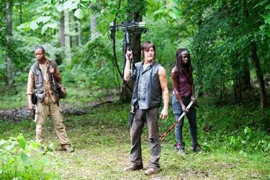 """Daryl Dixon (Norman Reedus), Bob Stookey (Lawrence Gilliard Jr.), and Michonne (Danai Gurira) stand in a wood with weapons in The Walking Dead 4.03 """"Isolation."""""""
